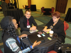 J'net Smith meets with Zach Hampton creator of College Dayz online comic and Christiana Bleadsoe of G3EK for a mentoring session at the CEO Conference.
